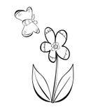 Blomma- och fjärilsvektorklotter Arkivbilder