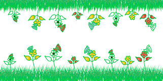 Blomma och gräsplandesign Fotografering för Bildbyråer