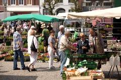 Blomma- och grönsakmarknad i Husum, Schleswig-Holstein Arkivfoton