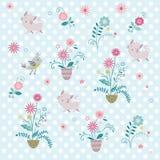 Blomma och katt Royaltyfria Bilder
