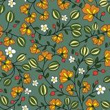 Blomma- och krusbärbär på en grön bakgrund Fotografering för Bildbyråer