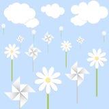 Blomma och spinnare vektor illustrationer
