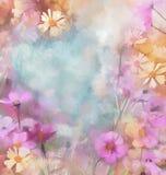 Blomma olje- målning, tappning, grungebakgrund Arkivbild