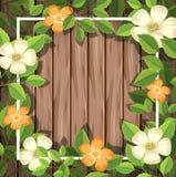 Blomma på träram royaltyfri illustrationer