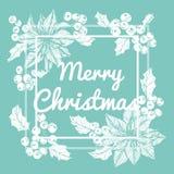 Blomma ramteckningsillustrationen för `-dag för glad jul Arkivbild