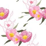 Blomma realistiska trädgårdblommor Handdrawn stil också vektor för coreldrawillustration Blomning som blommar den sömlösa modelle vektor illustrationer