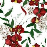 Blomma realistiska trädgårdblommor Handdrawn stil också vektor för coreldrawillustration Blomning som blommar den sömlösa modelle royaltyfri illustrationer