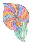 Blomma som dras med färgpennan Hand dragen designbeståndsdel Royaltyfri Fotografi