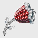 Blomma som göras av ädelstenrubiner och diamanter Fotografering för Bildbyråer