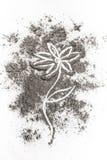 Blomma teckningsillustrationbegreppet i askaen, damm, smuts stock illustrationer
