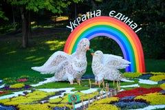 Blomma utställningen i Kiev som är hängiven till enhet och fred i Ukraina Arkivfoto