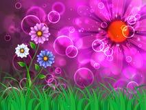 Blommabakgrundsshower som beundrar skönhet och tillväxt Arkivbild