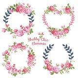 Blommabaner och etiketter royaltyfri illustrationer