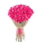 Blommabukett av 50 rosa rosor Fotografering för Bildbyråer