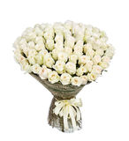 Blommabukett av 100 vita rosor Arkivbild