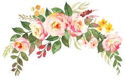 Blommabukett med rosa rosor vektor illustrationer