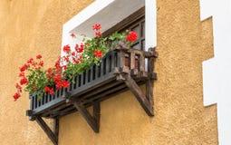 blommad balkong Royaltyfria Bilder