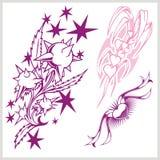 Blommadesign för tatuering också vektor för coreldrawillustration Arkivbilder