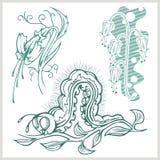 Blommadesign för tatuering också vektor för coreldrawillustration Royaltyfri Bild