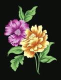 Blommaduo Vektor Illustrationer