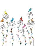Blommafågelbakgrund vektor illustrationer