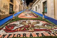 Blommafestivalen av Noto i Sicilien Arkivbilder