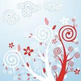 blommafjädertrees royaltyfri illustrationer