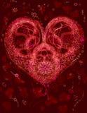 blommafractalhjärta royaltyfri illustrationer