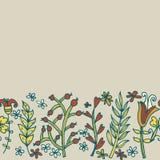 Blommagräns, sömlös textur med blommor Bruk som hälsningkort Fotografering för Bildbyråer