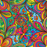 Blommahörnet förbinder den färgrika fågeln tycker om seamlesmodellen royaltyfri illustrationer