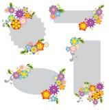 blommaillustrationetiketter Arkivfoton