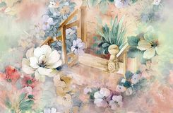 blommaillustrationmodell i enkel bakgrund stock illustrationer