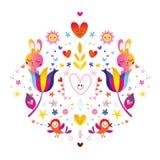 Blommakaninhjärtor och fåglar royaltyfri illustrationer