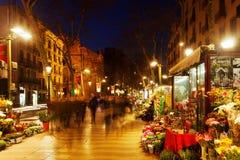 Blommakiosk på la Rambla. Barcelona Arkivbilder