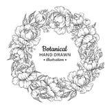Blommakrans Teckning för tappningvektorram Pion ros, sidor royaltyfri illustrationer