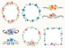 Blommakransram och garneringuppsättning royaltyfri illustrationer