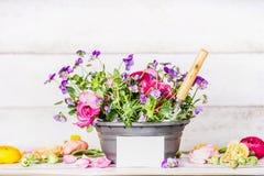 Blommakruka med skyffel- och vitbokhälsningkortet på tabellen på vit träväggbakgrund, främre sikt, arbeta i trädgården för behåll Royaltyfria Foton
