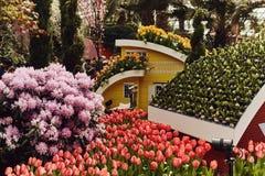 Blommakupol p? tr?dg?rdarna vid fj?rden fotografering för bildbyråer