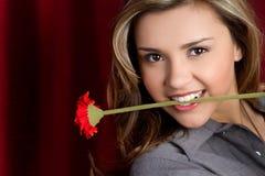 blommakvinna royaltyfri foto