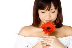 blommakvinna Royaltyfri Fotografi
