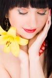 blommakvinnabarn Royaltyfria Bilder
