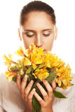 blommakvinnayellow Royaltyfri Bild