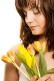 blommakvinnayellow Arkivbilder