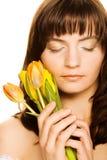 blommakvinnayellow Royaltyfria Bilder