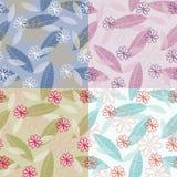 blommaleaves mönsan stylized seamless Royaltyfria Bilder