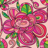Blommalinje sömlös modell för cirkelfyrkant Royaltyfri Foto