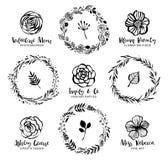 Blommalogomallar Blom- kransar med botaniska beståndsdelar H stock illustrationer