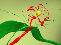 blommamålarfärgfärgstänk Fotografering för Bildbyråer