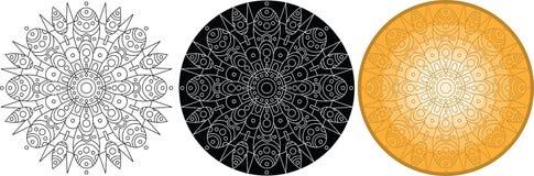 Blommamandala för färgläggningbok rund vektor för prydnad Royaltyfri Bild
