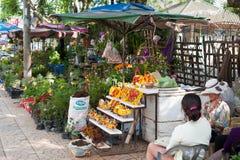 Blommamarknad i Dalat, Vietnam Arkivfoton